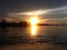 Sun set over Mekong river
