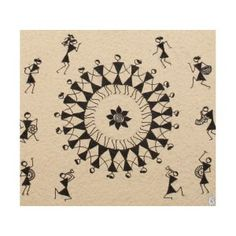 A Warli painting with vignettes of Warlis' way of life Worli Painting, Fabric Painting, Block Painting, Painting People, Pottery Painting, Madhubani Art, Madhubani Painting, Art Indien, Drawing Activities