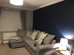 In love with our new living room in Dulux Sapphire Salute & Chic Shadow! Navy Living Rooms, Living Room Grey, Living Room Decor, Dining Room, Chic Shadow Dulux Living Room, Lounge Decor, Room Colors, Snug, Sapphire
