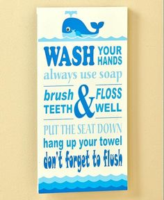 Whale Bathroom Rules Wall Plaque Sign Picture Kids Ocean Bath Home Decor New #UnbrandedGeneric