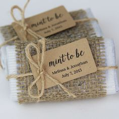 """Burlap wrapped mint favors featuring a min """"mint to be"""" tag designed by Tagged with Love"""