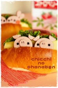 Pig roll sandwich. Anything piggie related - from pig products to animal photos! I like pigs