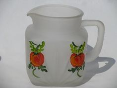 vintage hand painted pitchers | Gay Fad vintage hand-painted tomato juice pitcher, frosted satin glass