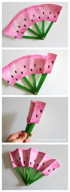 fruit fans -a fun kids crafts These DIY fruit fans keep parents cool and kids entertained. Try out this craft this weekend!These DIY fruit fans keep parents cool and kids entertained. Try out this craft this weekend! Fun Crafts For Kids, Cute Crafts, Crafts To Do, Projects For Kids, Diy For Kids, Children Crafts, Diy Projects With Paper, Cool Stuff For Kids, Creative Crafts