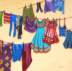 """Clothesline Fashion"" - Original Fine Art for Sale - © Carolee Clark"