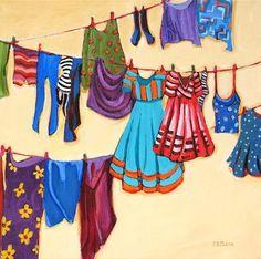"""Clothesline Fashion"" - Original Fine Art for Sale - © Carolee Clark"