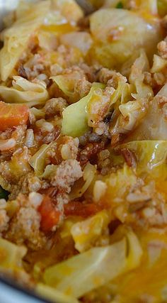 Easy Stuffed Cabbage Casserole ~ A one pot dinner recipe that is ready in 30 minutes or less... Traditional cabbage rolls can be a bit time consuming. This recipe has all of the great flavors with minimal time and effort involved.