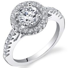 1.16 Carats Sterling Silver Round Cut Cubic ZIrconia Engagement Ring Size 5, Available In Sizes 5 To 9