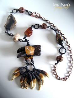 SHAMAN SPIRITS - Ice Age Horse Fossil & Coyote Teeth Amulet Necklace by Susan Tooker of Spinning Castle.