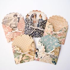 Scalloped ENVELOPES or JOURNALING POCKETS tied with Ribbon