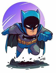 Chibi Batman by Derek Laufman - Batman Poster - Trending Batman Poster. - Chibi Batman by Derek Laufman Chibi Marvel, Marvel Dc Comics, Batman Chibi, Batman Cartoon, The Flash Cartoon, Deadpool Chibi, Flash Comics, Im Batman, Batman Art