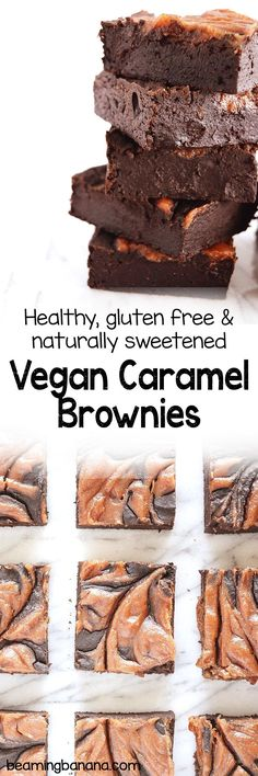 Rich, fudgy brownies swirled with silky sweet caramel. You'd never know these vegan caramel brownies are healthy, gluten free, and sweetened only with dates!