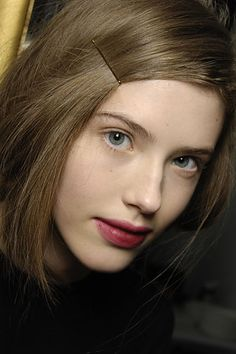 wine stained lips at Donna Karan