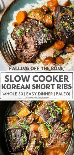 Healthy Slow Cooker, Healthy Low Carb Recipes, Slow Cooker Beef, Slow Cooker Recipes, Paleo Recipes, Real Food Recipes, Gluten Free Korean Recipes, Short Rib Recipes Crockpot, Short Ribs Slow Cooker