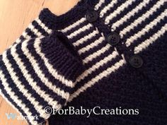 Crochet Baby Boy Sweater  Dark Blue/White  0-3 by ForBabyCreations