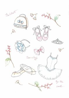 Fine Art Watercolor Original Illustration Print. Ballet Accessories. Ballet Shoes. Ballet Dress. Hair Bracelet. Crown. Bow. Flora.