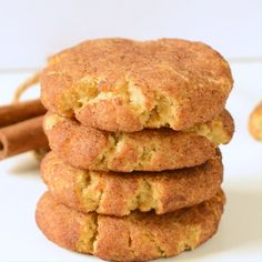 Keto snickerdoodle are soft keto cookies with a unique cinnamon flavor and only g net carbs per cookie. Bonus, this recipe is also egg free, dairy free and paleo friendly! Keto Cookies, Dairy Free Cookies, Dairy Free Eggs, Egg Free Desserts, Egg Free Recipes, Low Carb Recipes, Cookie Recipes, Lunch Recipes, Smoothie Recipes