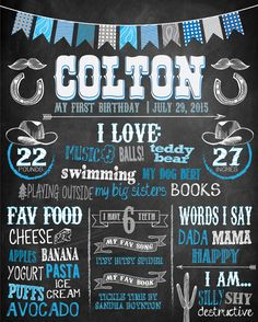 WESTERN BIRTHDAY PARTY POSTER FOR BOY'S FIRST BIRTHDAY {ANY AGE APPROPRIATE}, CHALKBOARD SIGN  **{WHAT THIS LISTING IS FOR}**  This listing is for