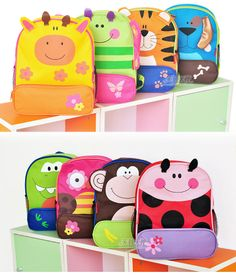 10.15 Free Shipping 2013 New Top Grade Lovely Cartoon Children School Bag Small Backpack For Boy And Girl Monkey Dog 19 Styles-inBackpacks f...