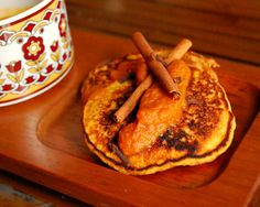 Pumpkin Spice Pancakes with Maple Sauce