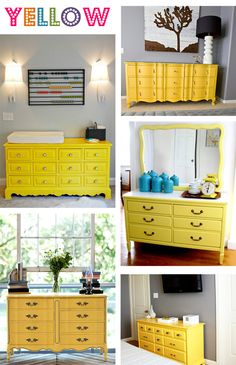 yellow painted dressers