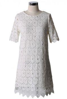 White Crochet Floral Shift Dress