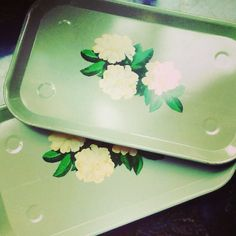 Cute green metal mid century floral luncheon trays, $12/pair. The Mart Collective, Venice, CA. SOLD