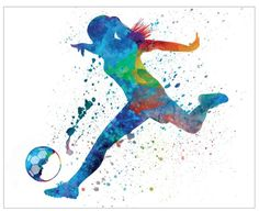 "Watercolor Soccer Poster 16"" x 20"""