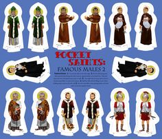 Pocket Saints Plushies : Famous Males PART TWO  fabric by magneticcatholic on Spoonflower - custom fabric