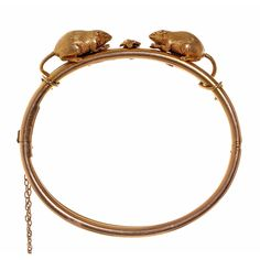 Victorian Thornhill Mouse Bangle | From a unique collection of vintage bangles at https://www.1stdibs.com/jewelry/bracelets/bangles/
