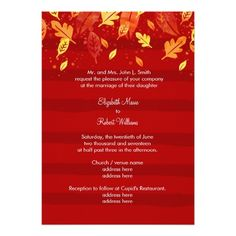 Red Fall Autumn Leaves 5x7 Paper Wedding Invitation Card
