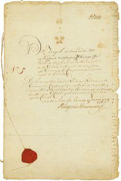 Koffy-Plantages en eene Suyker-Plantage - Rutgerus Braamcamp Amsteldam, 09.01.1765, 5 % Obligation über 1.000 Gulden, #5, 32,5 x 20 cm, schwarz, beige, handschriftlich auf Büttenpapier, rotes Lacksiegel, Fadenheftung, Knickfalten, Randeinrisse, OU Rutgerus Braamcamp. Rarität aus einer alten Sammlung!