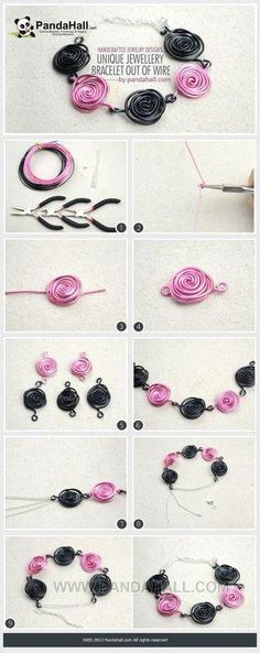 This would be cool as a necklace or headpiece. Black & Pink Wire Swirls Bracelet