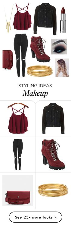 """Pop/Punk Concert Look"" by kayleekatrawr on Polyvore featuring Topshop, Nine West, Givenchy, Bold Elements, Lauren Ralph Lauren and Coach"