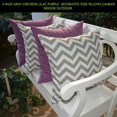 4 Pack Gray Chevron Lilac Purple  Decorative Toss Pillows Lumbar Indoor Outdoor  #fpv #technology #parts #camera #tech #decor #kit #pillows #products #plans #shopping #racing #outdoor #gadgets #drone