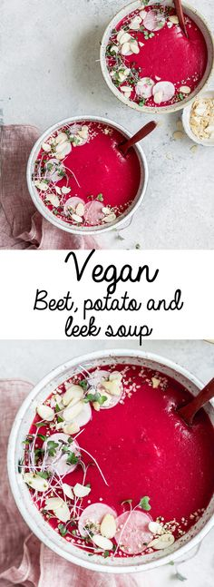 This vegan beet potato and leek soup recipe is creamy, healthy, and so easy to make. It's simply the best!