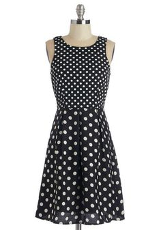 Complimentary, My Dear Dress - Black, White, Polka Dots, Pleats, Casual, A-line, Sleeveless, Knit, Good, Scoop, Mid-length, Woven, Exposed zipper