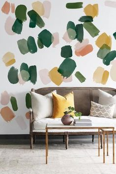 Large Emerald Brush strokes - Order today from UrbanWalls. Wallpaper Interior Design, Hand Painted Walls, Painted Wall Murals, Bedroom Decor, Wall Decor, Vinyl Wall Stickers, Wall Treatments, Floral Wall, Wall Design