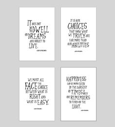 SALE! Harry Potter Quote print collection, Albus Dumbledore quotes, Harry Potter posters, wall art, baby , happiness, choices, dwell, ET200 by InstantGoodVibes on Etsy