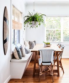 Bistro chairs from Naturally Cane Photography Tanya Zouev / Styling Maddy Evennett Dining Nook, Dining Room Lighting, Dining Room Design, Table Lighting, Modern Lighting, Kitchen Lighting, Design Kitchen, Dining Chairs, Lighting Ideas