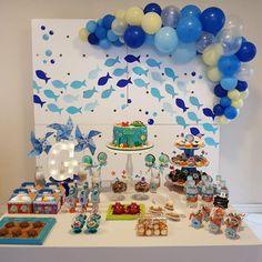1st Birthday Boy Themes, Shark Birthday Cakes, Baby 1st Birthday, Boy Birthday Parties, Birthday Decorations, Ocean Party, Under The Sea Party, First Birthdays, Lucca