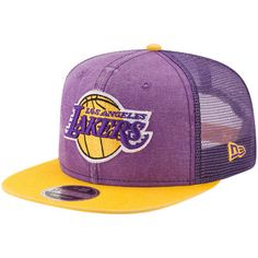 Men s Los Angeles Lakers New Era Purple Rugged Trucker 9FIFTY Original Fit Adjustable  Hat f50750e6290f