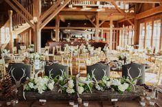 One Couple's Romantic Missouri Wedding with Rustic, Cowboy-Style Details : Brides Deer Wedding, Camp Wedding, Lodge Wedding, Wedding 2015, Woodland Wedding, Antler Wedding, Wedding Rustic, Wedding Cake, Wedding Reception