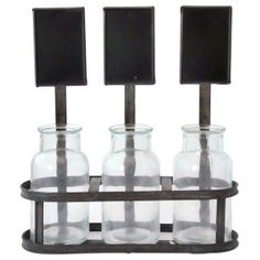 Market Milk Bottles with Metal Chalkboard Crate