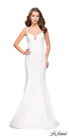 845089af2adc Classic V-shape Strappy Back Fitted Evening Gown by La Femme Dresses.  Svadobné ŠatyŠaty ...