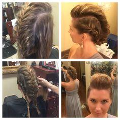 Faux hawk French braid updo - medium length, fine hair, thin hair