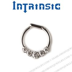 Intrinsic Body Titanium 5 Prong-set Gems Septum Clicker Nose Ring 18 Gauge 16 Gauge 14 Gauge 18g 16g 14g
