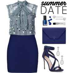 Summer Date Night by hafizhahtika on Polyvore featuring polyvore, moda, style, Needle & Thread, Boohoo, Imagine by Vince Camuto, Carolee, Bobbi Brown Cosmetics, fashion and clothing