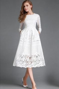 White Lace Dress Long Sleeve Flared Dress For Women Tight Lace Dress, Tight Dresses, Dress Up, Prom Dresses, White Dress With Sleeves, Mature Bride Dresses, Dress Long, Swag Dress, Bridesmaid Dresses