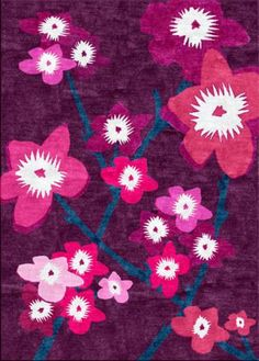 Japanese Flowers - Contemporary Modern Area Rugs by Sonya Winner